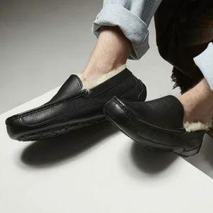 NEW UGG Australia Ascot Mens Blk Leather Slippers